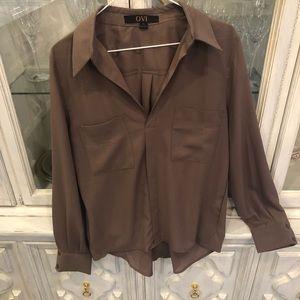 OVI brown v neck blouse Hi-Li design